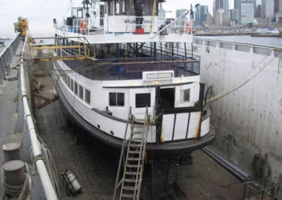 Ferry in drydock